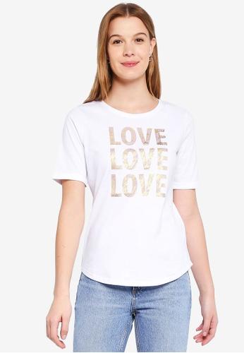 ESPRIT white Back Graphic Short Sleeve T-Shirt 00A5BAACE829A7GS_1