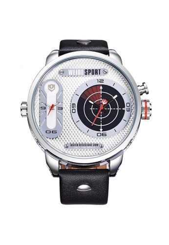 Weide white and silver Weide WH3409 Men's Military Oversized 2 Time Zones Leather Watch (Silver White) WE079AC89RJYMY_1
