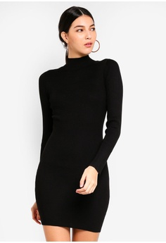 e0bbd2dd0dbd6 MISSGUIDED black High Neck Knitted Mini Dress 4CAE1AA4DACEE4GS 1