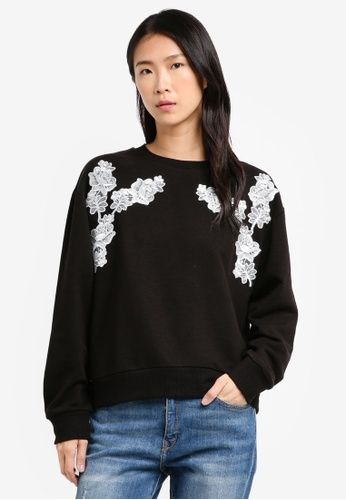 TOPSHOP black Petite Applique Sweater 24986AAE5D71A3GS_1