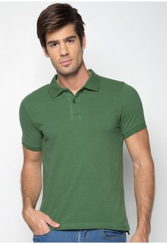 Short Sleeves Collared Two-button Pique Shirt