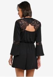 Miss Selfridge black Black Lace Playsuit MI665AA0S7BVMY_1