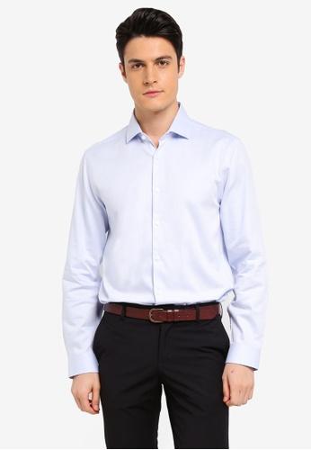 Burton Menswear London blue Blue Tailored Fit Herringbone Shirt 7499BAAA30BB1FGS_1