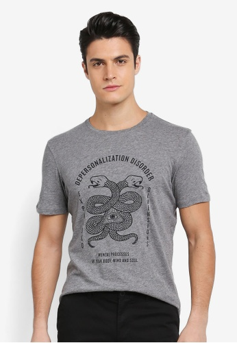 Sisley grey Snake Print T-Shirt F5784AA78B353CGS_1