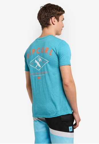 Rip Curl green and blue RC Surfboardtree Tee RI364AA0S58VMY_1