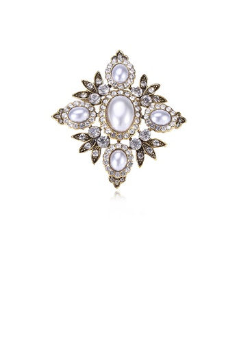 Glamorousky white Elegant Vintage Plated Gold Geometric Diamond Pattern Imitation Pearl Brooch with Cubic Zirconia 54A57ACC8FC102GS_1