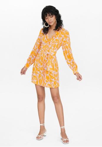 Pomelo orange Tropical Print Tied Waist Shirt Dress - Orange 14B45AAA55B493GS_1