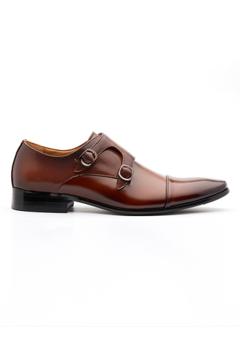 Kings Collection brown Double Buckle Dark Brown Trento Leather Monk Strap Shoes 1DF24SH7EF52ABGS_1