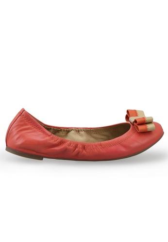 Shu Talk 橘色 雙色蝴蝶結羊軟皮圓頭芭蕾平底鞋 SH544SH099TGTW_1