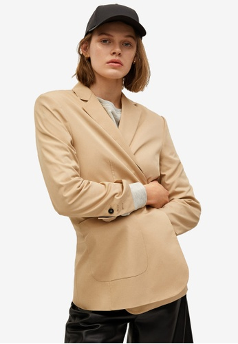 Mango beige Structured Cotton Blazer 3E768AA76638EBGS_1
