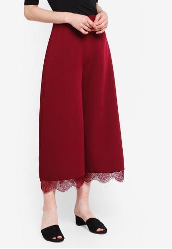 Something Borrowed red Lace Trim Wide Leg Cropped Pants 81375AADB0428EGS_1