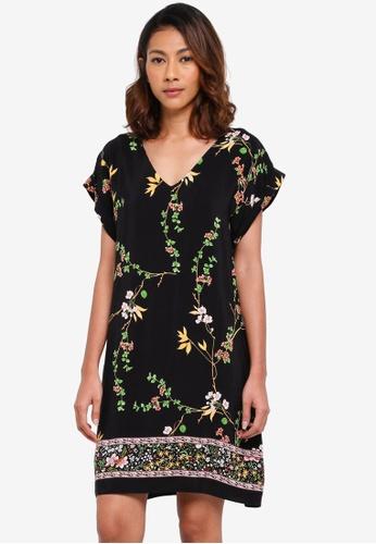 Dorothy Perkins black Black Border Print Shift Dress E7C61AAF7843ADGS_1