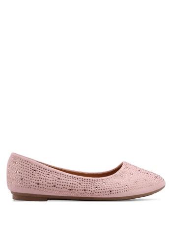 Noveni 粉紅色 鑽飾平底鞋 AB177SHF8AA24EGS_1