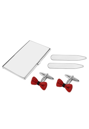 CUFF IT red Red Enamel Bow Tie Cufflinks Collar Stays and Card Holder Set 42455AC7EF616EGS_1