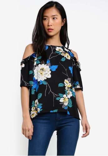 Dorothy Perkins navy Twighlight Floral Cold Shoulder Top DO816AA0RY0TMY_1