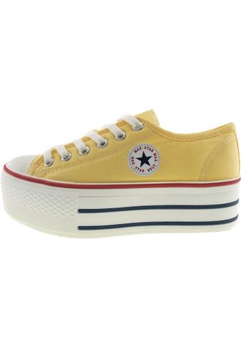 Maxstar 黃色 新款韩国鞋C50-6H時尚帆布布混合女黃色 US Women Size MA345SH55GUYTW_1