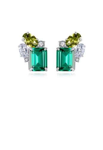 Glamorousky green 925 Sterling Silver Fashion and Elegant Geometric Rectangular Stud Earrings with Green Cubic Zirconia 724F7ACA40967EGS_1