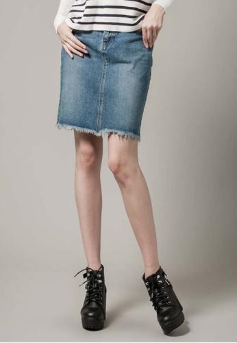 H:CONNECT blue Denim Mini Skirt B7862AA52628F6GS_1