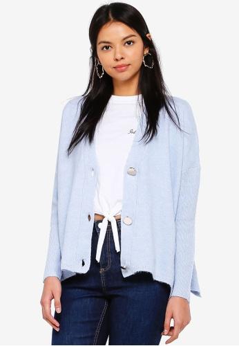 Miss Selfridge blue Blue Button Through Knitted Cardigan 48084AADEA68E6GS_1