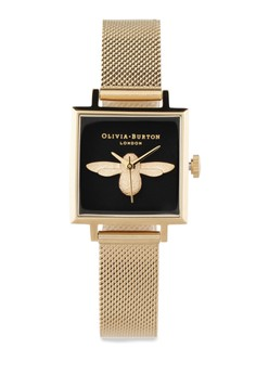 Image of Square Dial 3D Bee Gold Mesh