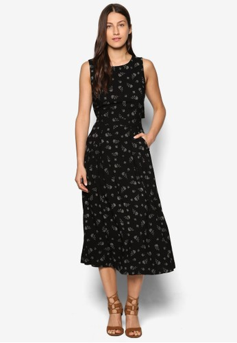 esprit衣服目錄Dotty 花卉印花無袖洋裝, 服飾, 洋裝
