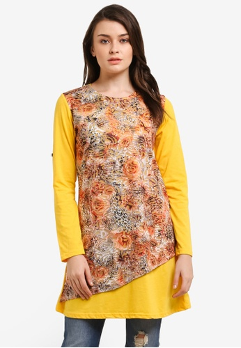 Zariya yellow Printed Blouse DA032AAE27DAE3GS_1