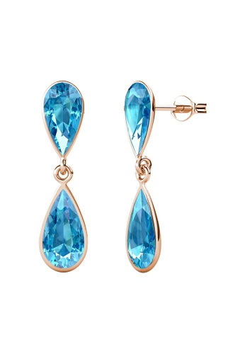 LOVE AND LIFE gold Love & Life Duo Droplet Earrings (Rose Gold Aquamarine) embellished with Crystals from Swarovski BD9FFAC0B9F907GS_1