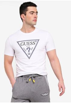 c8dd8c9f740 Guess white Classic Guess Triangle Logo Denim Trim T-Shirt  23888AAA7A5246GS 1