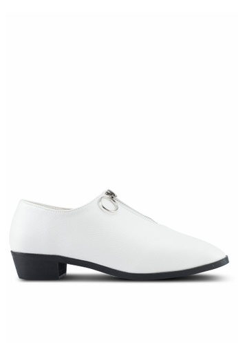 Something Borrowed white Zip Detail Loafers 195C6SHEA80612GS_1