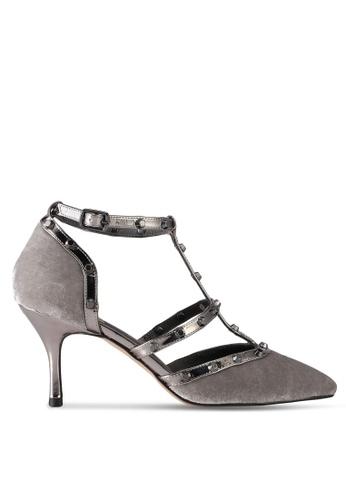 House of Avenues grey Oslen Velvet Pump Heels B051FSH8826BC0GS_1