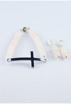 Rose Quartz Cross Bracelet