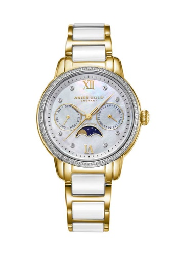 Aries Gold white Aries Gold Enchant Luna White and Gold Watch A77B2AC02731A5GS_1