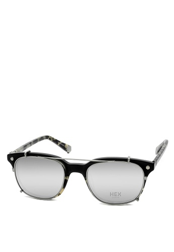 HEX EYEWEAR black and multi and beige Fraud - Abagnale - Optical with Clip-on - Made in Italy HE671AC2V1ITHK_1