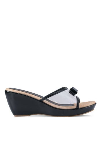 Spiffy black Trendy Mule Wedges With Ribbon SP352SH0SRX3MY_1