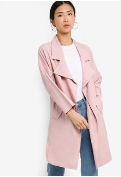 96292cccec69 ZALORA BASICS pink Basic Waterfall Trench Jacket 6A31CAAF26213EGS_1