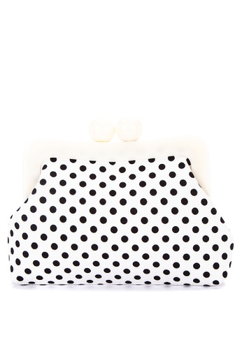 Chloe Edit black and white Dotted Clutch With White Acrylic Frame 01D49ACE353389GS_1