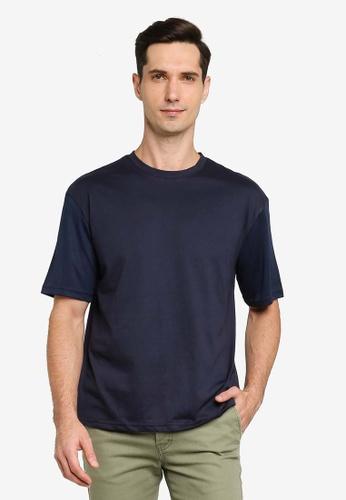 ZALORA BASICS navy Layered Sleeves Boxy T-shirt 69B3EAADE3B9F2GS_1