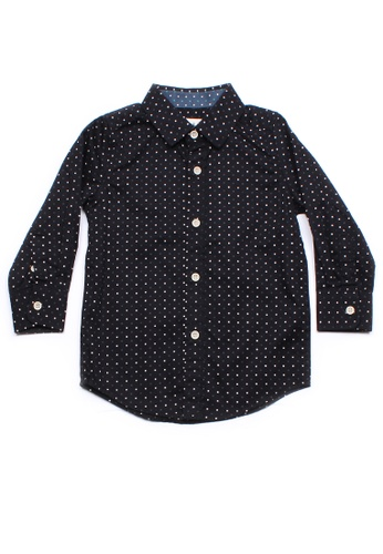 Mini Moley black Digital Pixel Boy's Long Sleeve Shirt 6D770KA9FC1921GS_1