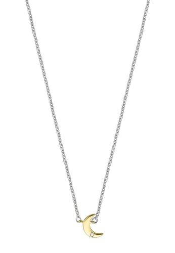Esprit gold ESPRIT [Moon] Two-Tone Silver & Gold Sterling Silver Necklace (42 cm + 3 cm extension) FF8D5ACADCD9DEGS_1