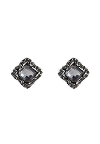 Red's Revenge black Vintage Square Dark Gem Stud Earrings RE144AC0RRV5MY_1