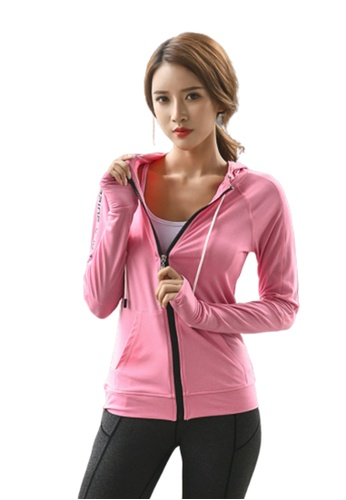 B-Code pink ZYG3080-Lady Quick Drying Running Fitness Yoga Sports Jacket -Pink 00E37AAA4C6F75GS_1
