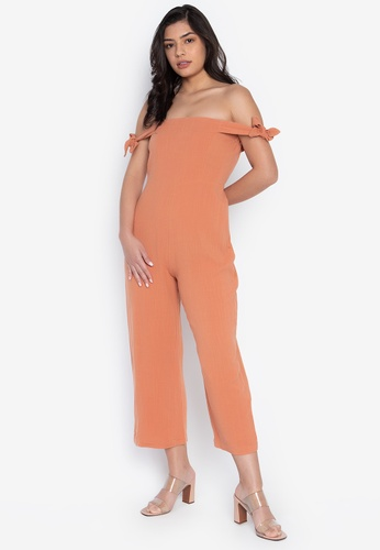 the___edit orange Penelope Linen Jumpsuit 1EFDDAAEF6E4D5GS_1