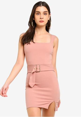 MISSGUIDED pink Square Neck Belted Wrap Shift Dress E6709AAD51B3D1GS_1
