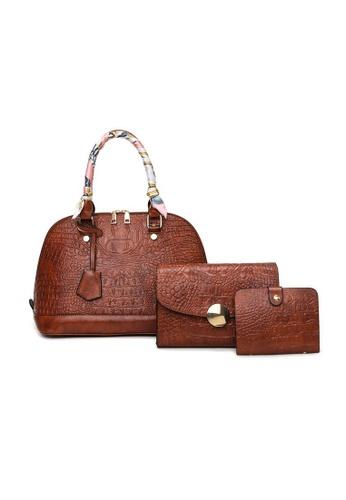 Lara brown Women's Silk Scarf-handle Crocodile Embossed Leather Zipper Shoulder Bag Handbag - Dark Brown DEC15AC5A4C479GS_1