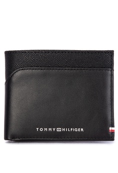 1f435f112 Tommy Hilfiger black Bi-material Mini Cc Branded Leather Bi-fold Wallet  3E302ACFBC1F29GS_1