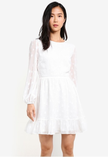 ZALORA white Star Fit & Flare Balloon Sleeve Dress 60E29AAC52A158GS_1
