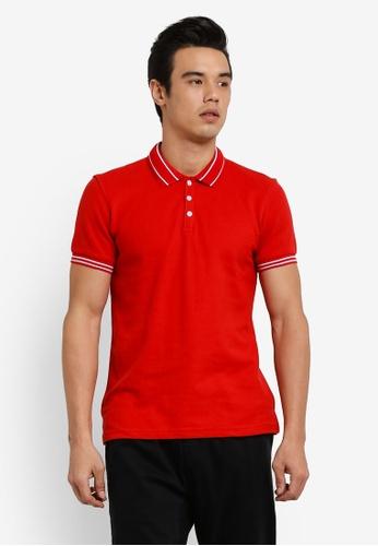 UniqTee red Slim Fit Tramline Polo Shirt UN097AA0RFUVMY_1