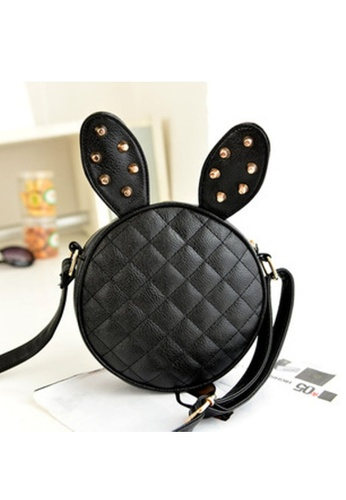 Jackbox black Bunny Rabbit Ear Artificial Leather Cute Purse Sling Bag JA762AC64XAPMY_1