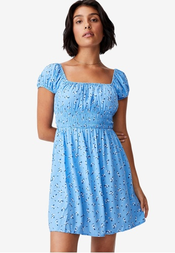 Cotton On blue Woven Frankie Puff Sleeve Shirred Fit And Flare Dress 696B0AA35E3B8DGS_1