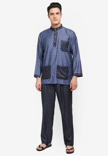 Mayasilk blue Baju Melayu SB Contrast Diamand Print 27FF7AACC5D908GS_1